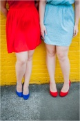 red & blue dresses