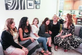 Group couch laugh